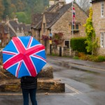 Union jack flag and umbrella - Castle combe - England