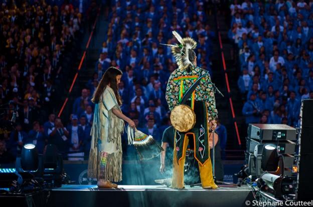 Chamanisme indien lors de la cérémonie d'ouverture des JAAN